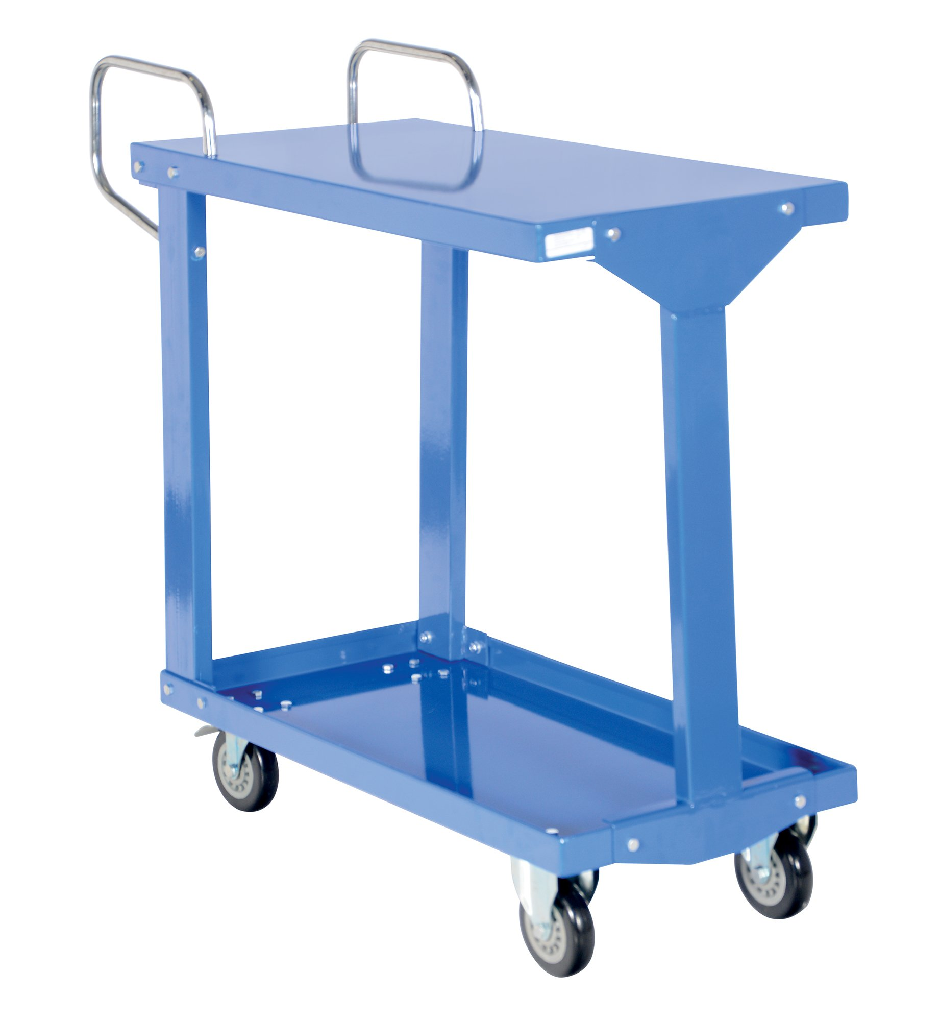 Vestil EASY-A-1836 Easy-Access Steel Stock Truck , 2 Shelves, Blue, 1200 lbs Load Capacity, 36'' Height, 41-1/2'' Length x 18'' Width