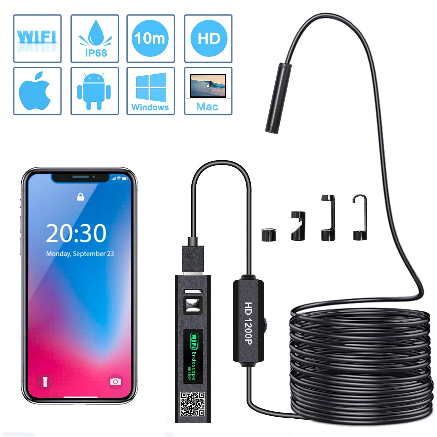 PiAEK Endoscope, WiFi d'Inspection Camé ra Endoscopique 2.0 Mé gapixels 1200P HD IP68 é tanche, Câ ble Semi Rigide(10 M) avec 8 LED Borescope Compatible avec Android,iOS,Mac,Tablette et Windows