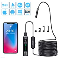 PiAEK Endoscope, WiFi d'Inspection Caméra Endoscopique 2.0 Mégapixels 1200P HD IP68 étanche, Câble Semi Rigide(10 M) avec 8 LED Borescope Compatible avec Android,iOS,Mac,Tablette et Windows