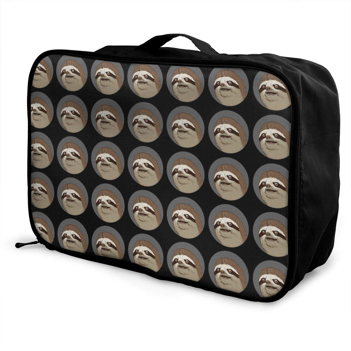 YueLJB Sloth Pizza Lightweight Large Capacity Portable Luggage Bag Travel Duffel Bag Storage Carry Luggage Duffle Tote Bag