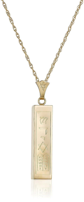 """Men's 14k Yellow Gold Hollow Mezuzah Pendant Necklace, 20"""""""