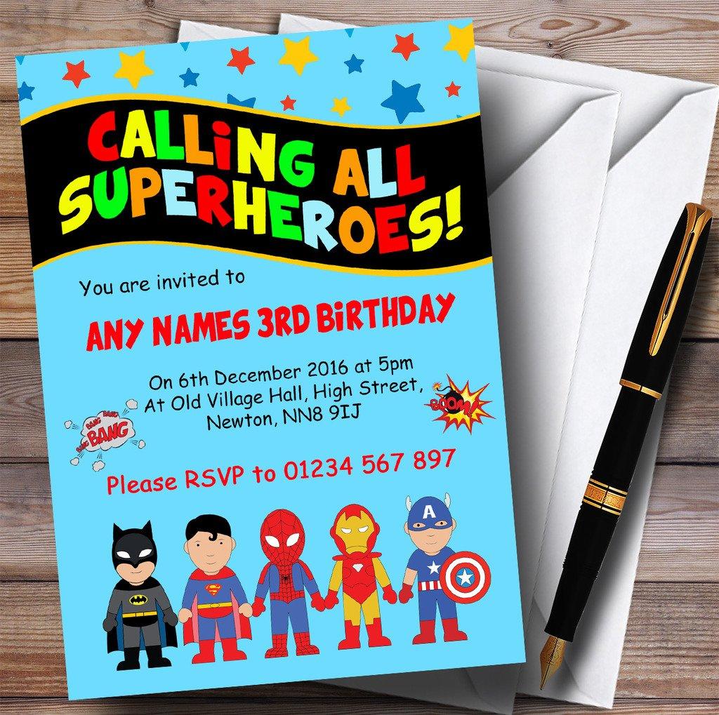 Azul SUPERHÉROE para niños fiesta de cumpleaños invitaciones ...