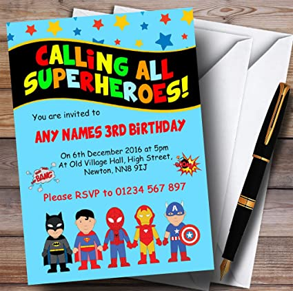 Image Unavailable Not Available For Color Blue Superhero Childrens Birthday Party Invitations