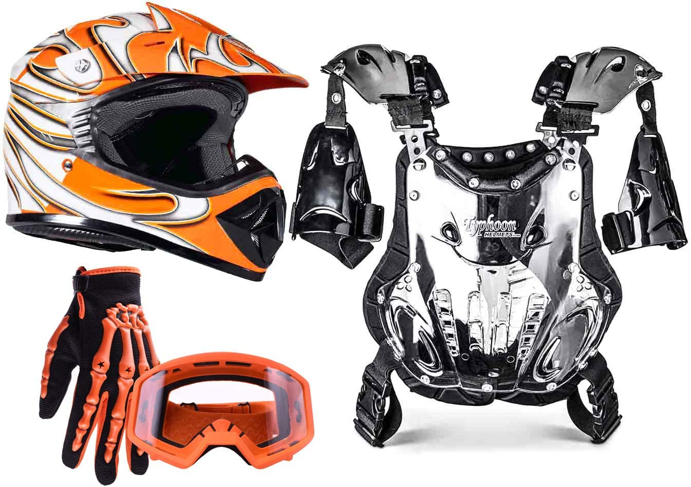 Typhoon Kids Youth Off Road Motocross Gear Combo Helmet Gloves Goggles & Chest Protector