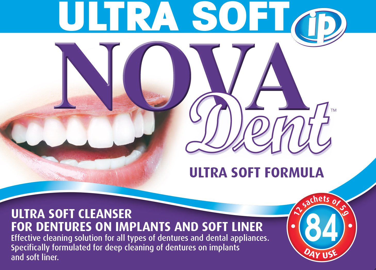 Novadent iP Ultra Soft | Dentures and dental appliances cleanser | 3 months (12 sachets) Novalab Canada inc.
