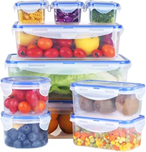 Mengico Food Storage Containers with Lids - Plastic Food Containers Meal Prep - BFA Free Food Containers Set 10 Pack)-Leak Proof Lunch Boxes to Go