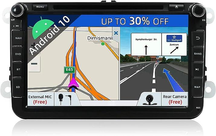 "JOYX Android 10 Autoradio 2 Din Car Stereo Compatible para VW SEAT SKODA POLO PASSAT TIGUAN GOLF Fabia Navegacion   8""   2G+32G   LIBRE Cámara trasera ..."