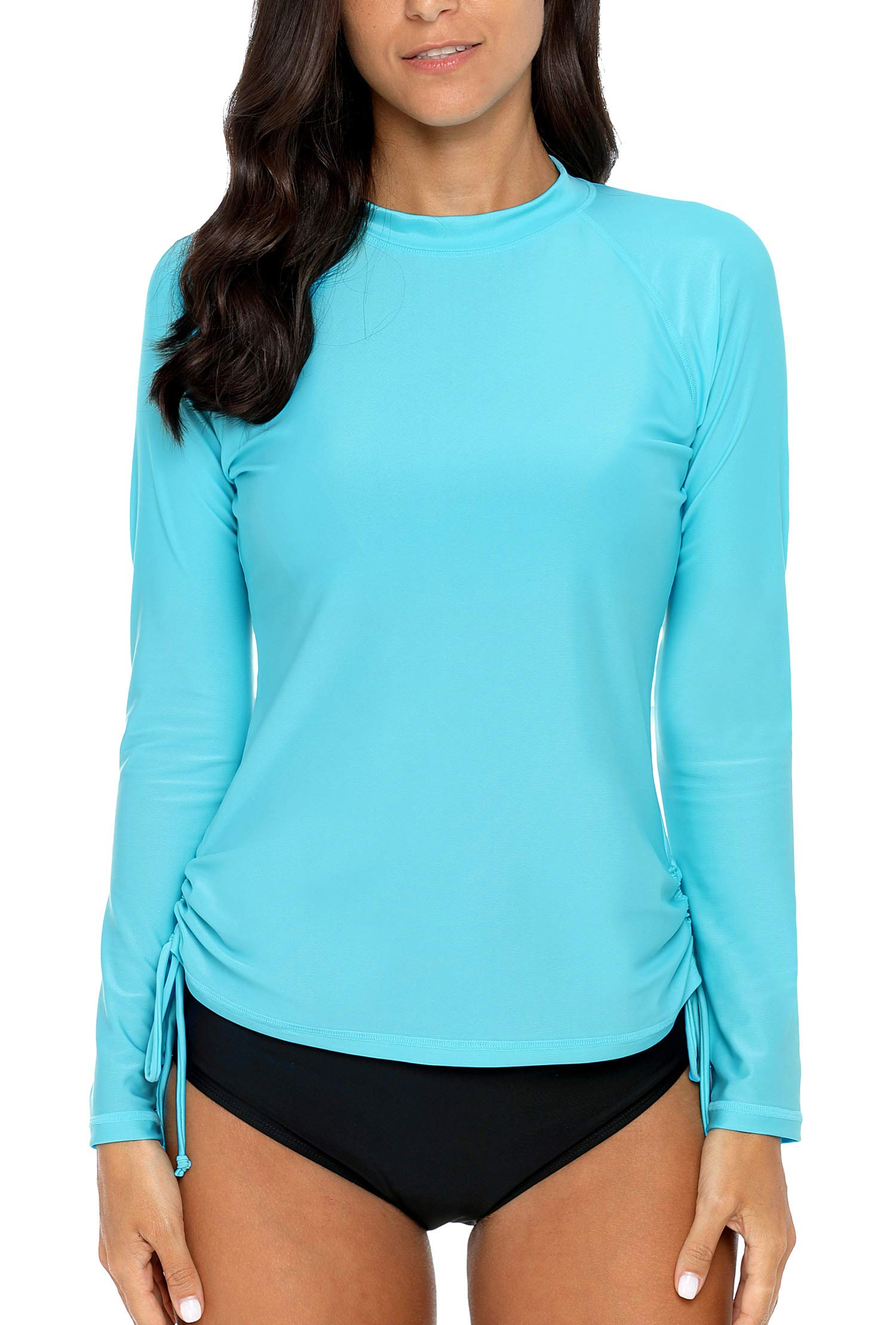 ALove Womens Drawstring Rash Guard Shirt UV Protection Swim Shirts Aqua M by ALove (Image #2)