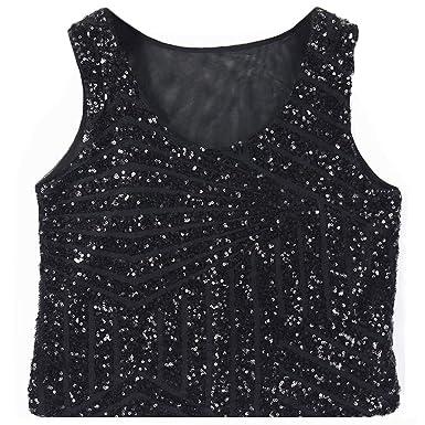 d38a77e2fd0 Women's Sequins Tank Top Sling Camisole Cami Vest T-Shirt Slim Crop ...
