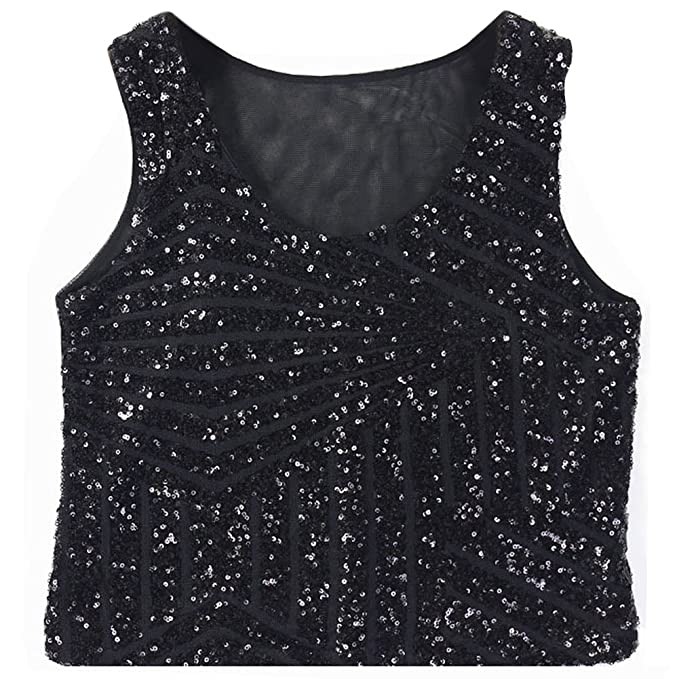 UK STOCK Ladies Bling Sequin Vest Crop Top Blouse Sleeveless Partywear Cami Tank