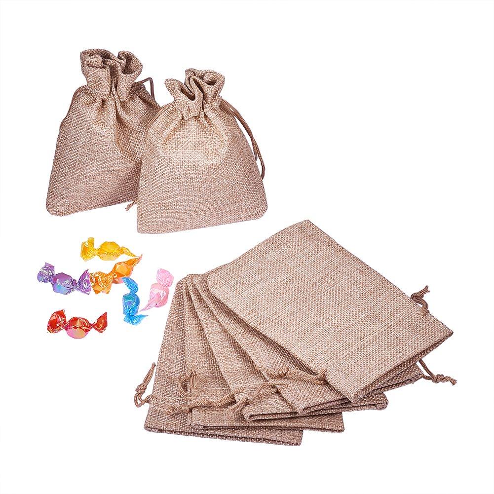 PandaHall 100 pcs Bolsas de arpillera con Bolsas de Regalo con Cord/¨/®n Bolsa de Joyas para la Fiesta de la Boda,proyectos de Manualidades,Presenta,Aperitivos,Joyas,5.3x3.7 Pulgada