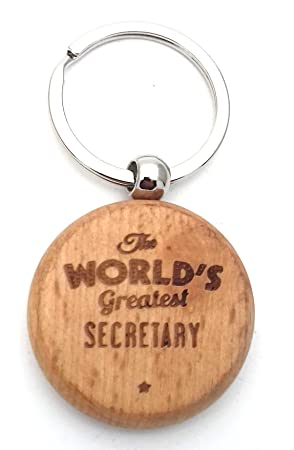 THE WORLDS GREATEST SECRETARY Wooden Wood KEYRING Key Ring Gifts ...