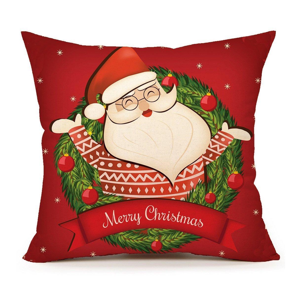 spxubzレッドサンタクロースクリスマス( Smile )枕カバー装飾ホーム装飾素敵なギフトスクエアインドア/アウトドア枕カバーサイズ: 18 x 18インチ(両面) 20x20 Inch B07CGN99SN