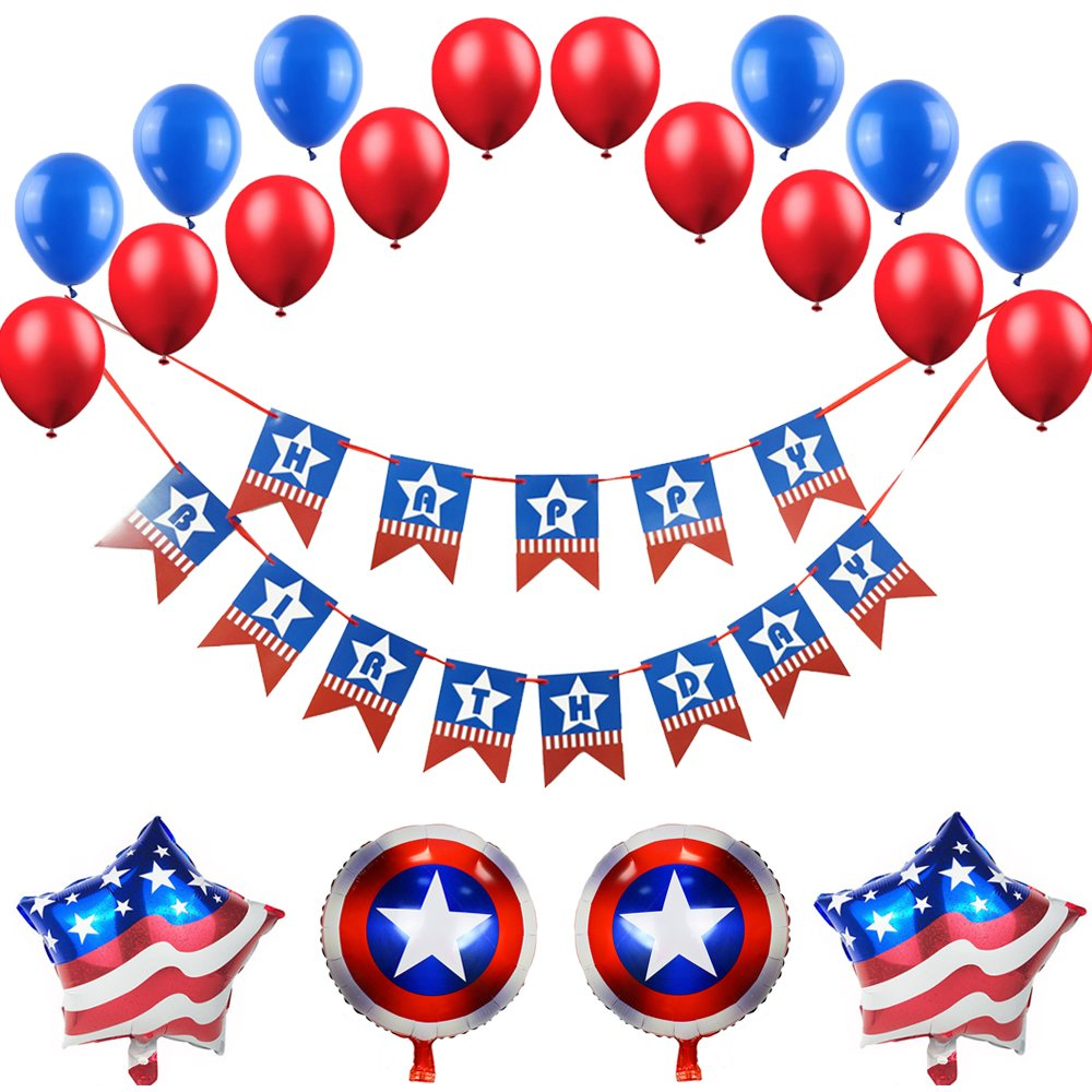 FUNPRT Red White Blue Happy Birthday Banner, Red Blue White Latex Balloon, Star Shield Foil Balloons, American Flag Theme Birthday Party Decoration