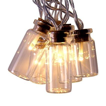 Tira de luces LED retro en forma de frascos con luz blanca cálida 16 luces estáticas