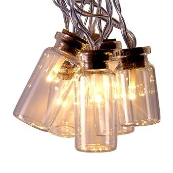 Bocal Lumières 16 Transparent Verre Led Guirlande Féérique Jarre En X Statiques FJTK1c3u5l