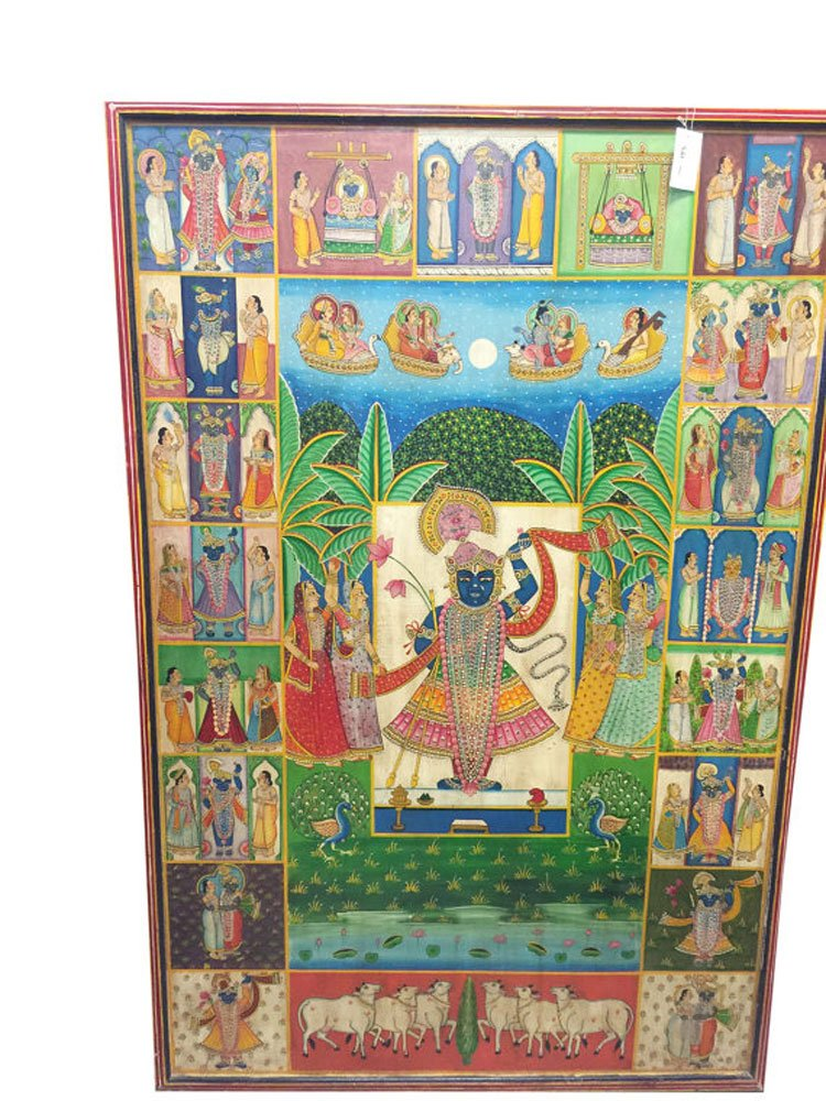 Mogul Pichhwai Krishna Colorful Artisan Painting Wall Panel Nathdwara ''Door to the Lord'' by Mogul Interior