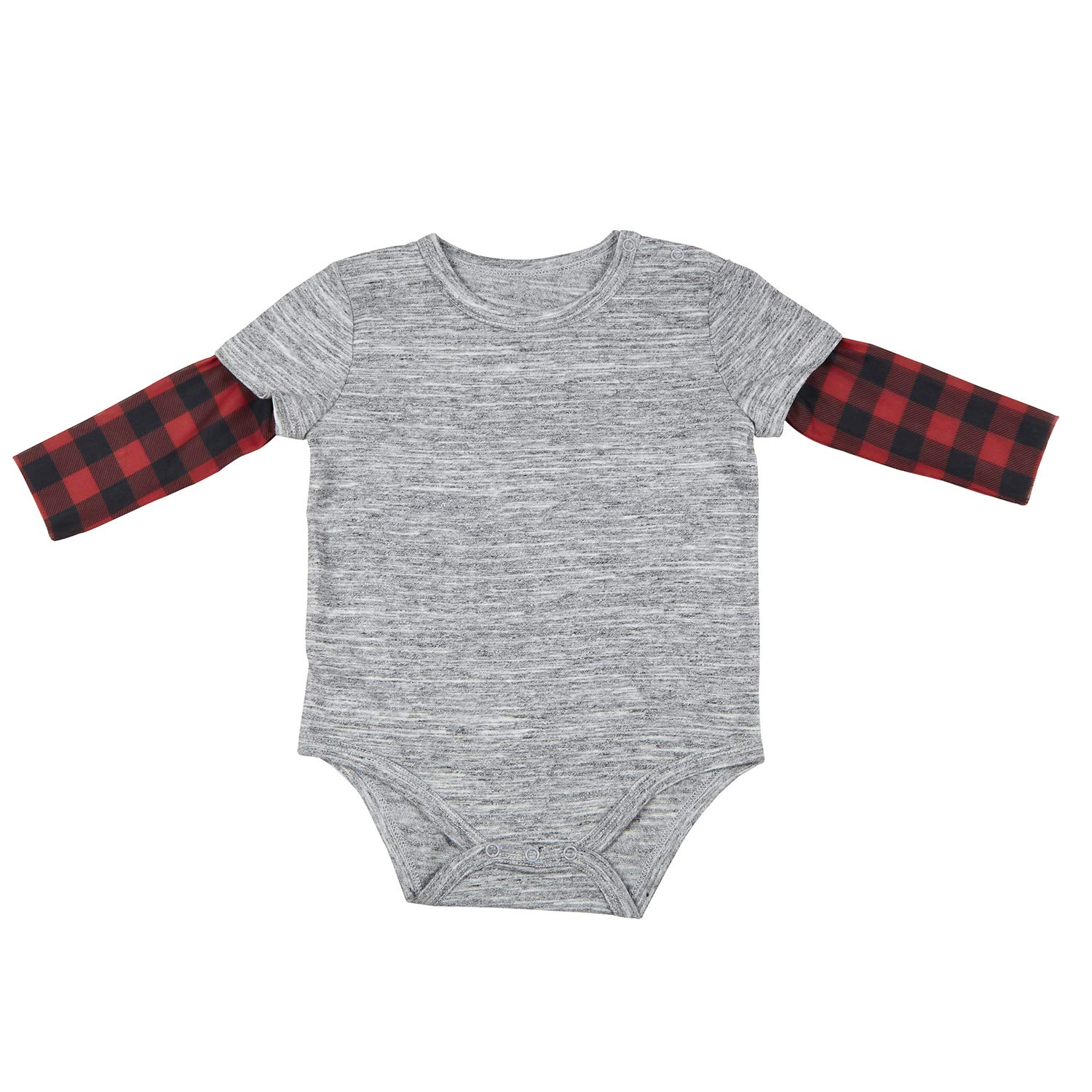 Stephan Baby Snapshirt-Style Diaper Cover with Tattoo Sleeves Fits 6-12 Months Buffalo Checks F4800 Gray