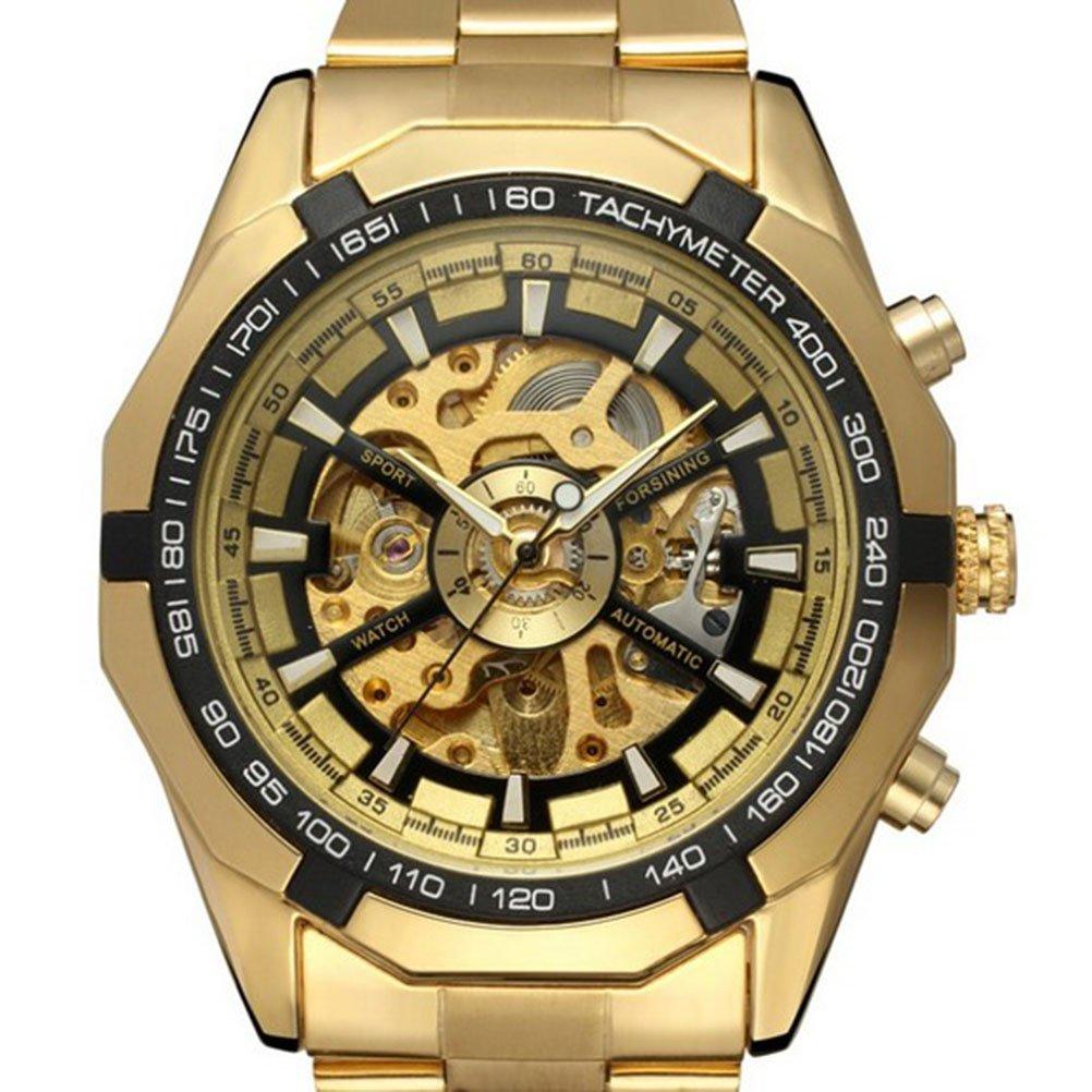 Reloj transparente de pulsera mecánico automático con pulsera de acero inoxidable. Opción de colores.