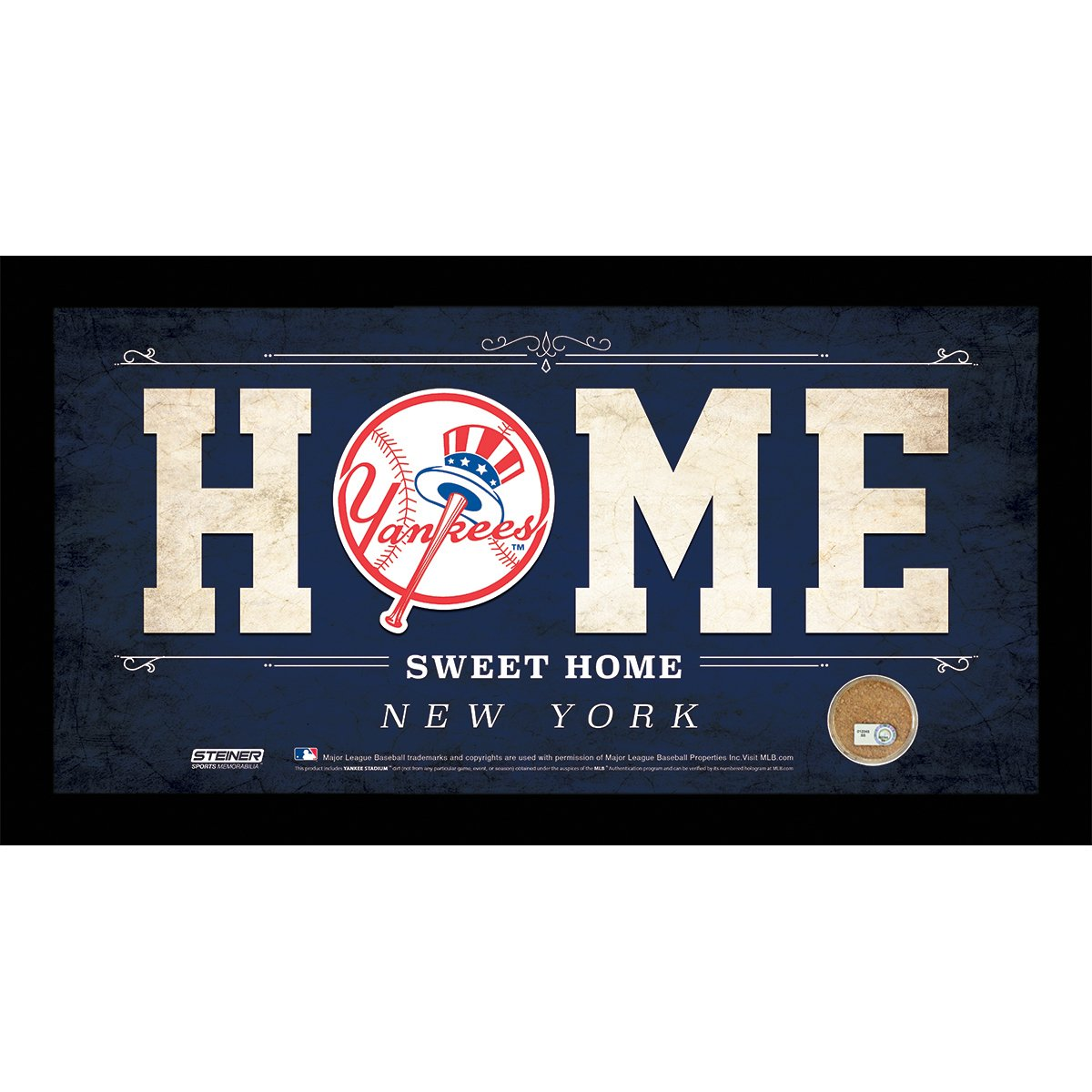 MLB New York Yankees Home Sweet Home Sign with Game-Used Dirt from Yankee Stadium, 6 x 12'', Blue