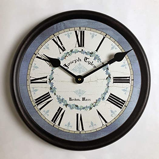 Blue Flower Wall Clock, Available in 8 Sizes, Most Sizes Ship The Next Business Day, Whisper Quiet.