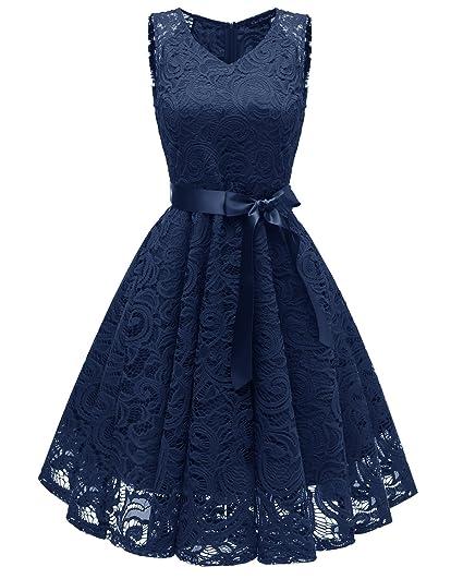 00bac6f36f880b Misshow Damen Kleider Spitzenkleid Knielang Festliches Cocktail Kleider  Abendkleider