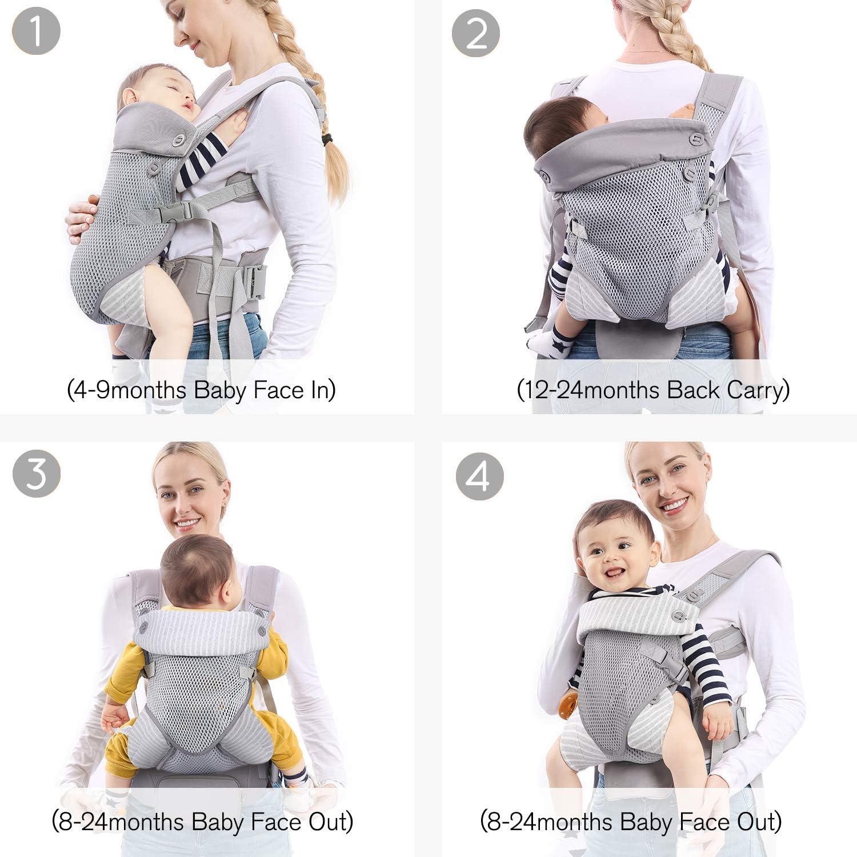 Petite Pochette D/étachable pour 4 /à 24 mois avec Bavette 3,5 kg /à 15 kg mommore Porte-b/éb/é Ergonomique,L/éger et Respirant
