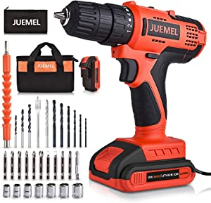20V MAX Cordless Drill with 2 Batteries & Charger, Power Drill Set for Home with 3/8 inches Keyless Chuck, Infinitely Variable Speed Control, and 30pcs Electric Drill/Driver Bits Accessories