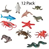 "Vinyl Ocean Animals - Pack Of 12 - 2"" X 3.5"" Assorted Animal Figures - Underwater Sea Life Creatures - For Kids Great Party Favors, Bag Stuffers, Fun, Toy, Gift, Prize, Piñata Fillers - By Kidsco"