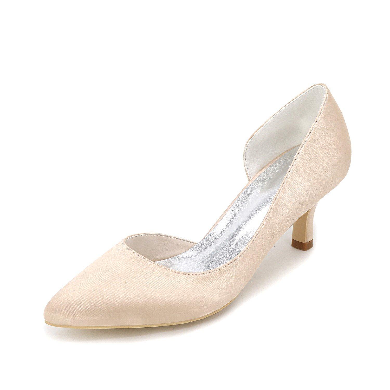 Qingchunhuangtang@ Zapatos de punta de gran tamaño/wedding shoes/fina talones/lateral/tacones altos zapatos de trabajo/satinado/6cm,35,color champagne 35
