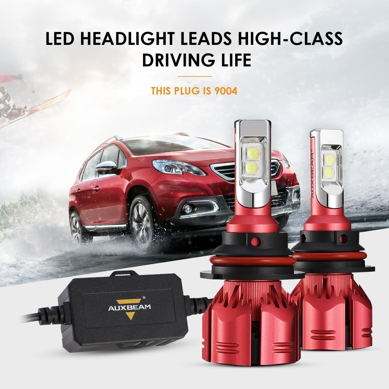 Auxbeam LED Headlight Bulbs NF-S1 Series LED Headlights with 2 Pcs of 9005 HB3 H10 9145 LED Philips CSP LED Headlight Conversion Kit 50W 8000lm 6000K Single Beam - 1 Year Warranty