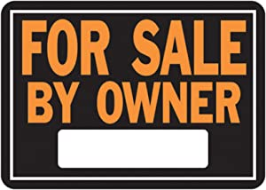"Hy-Ko Products 845 for Sale by Owner Aluminum Sign, 9.25"" x 14"", Orange/Black"