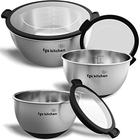 FGS Kitchen Mixing Bowl Set - Stainless Steel Mixing Bowls with Transparent  Lids - Set of 3 Premium Non-Slip Nesting Bowls for Cooking, Baking, ...