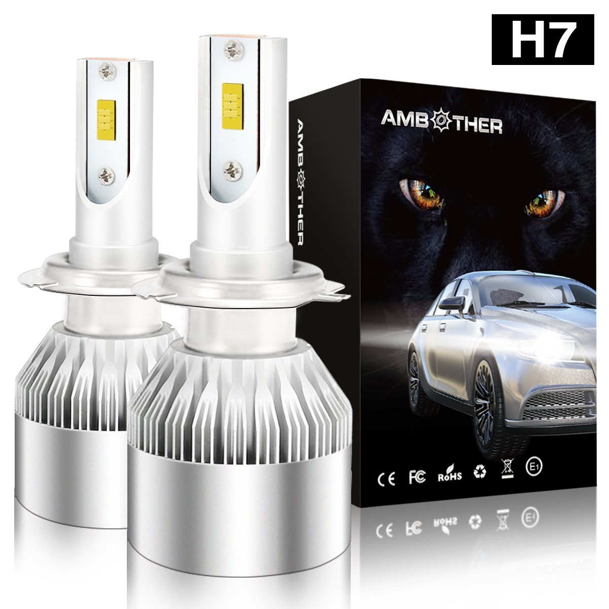 H7 LED Car Headlight Bulbs, AMBOTHER All-in-One Conversion Kit CSP Chips Super Bright 7200LM 72W Exterior Headlamp with 2X Car Dust Covers Included Cool White (Upgraded)