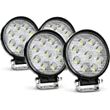 Nilight led pods 4PCS 27W Round Flood LED Light Bar Driving Lamp Waterproof Jeep Off Road Fog Lights for Truck Car ATV SUV Jeep Boat 4WD ATV, 2 Years Warranty