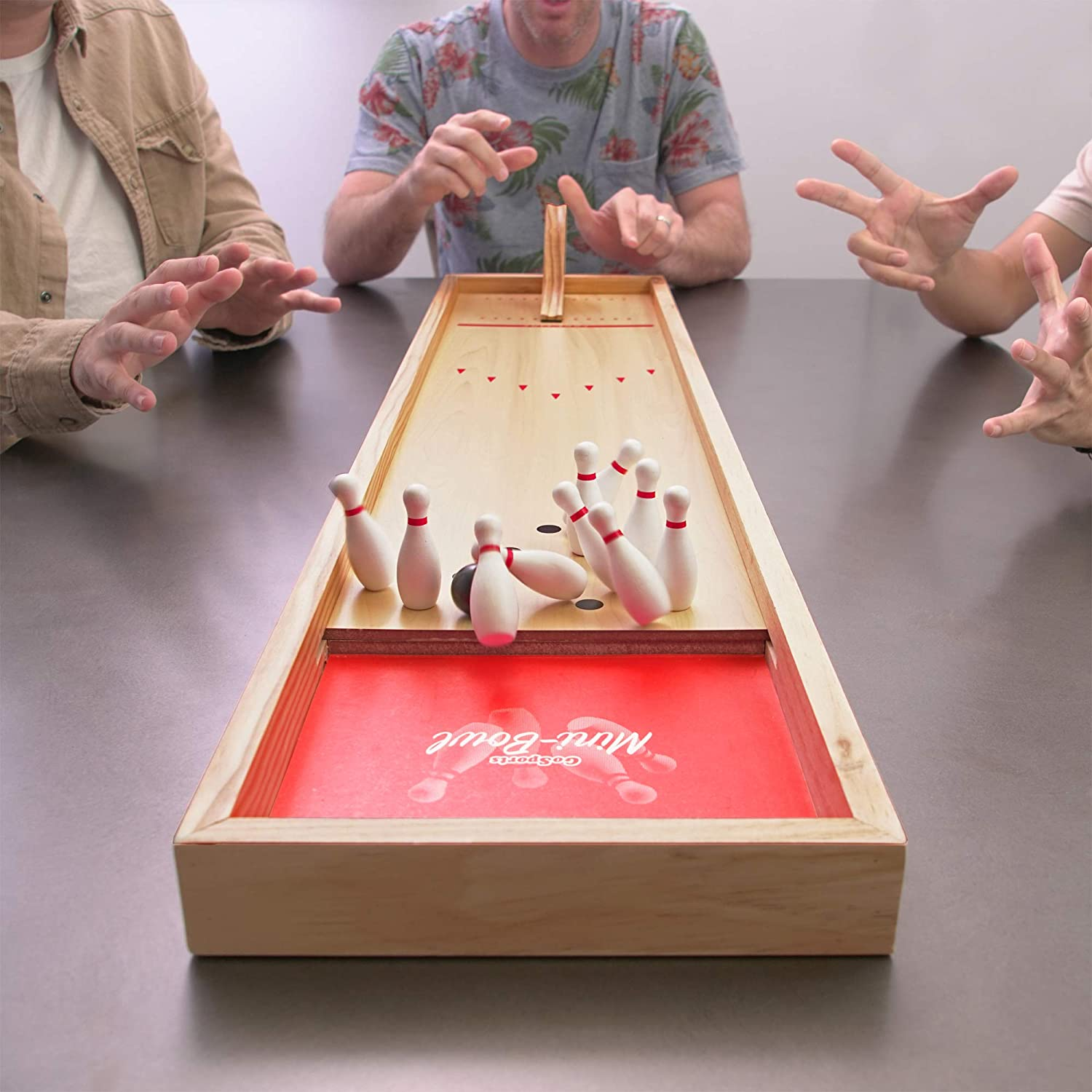 Perfect for Kids /& Adults Premium Wooden Construction with Dry Erase Scorecard GoSports Tabletop Bowling Game