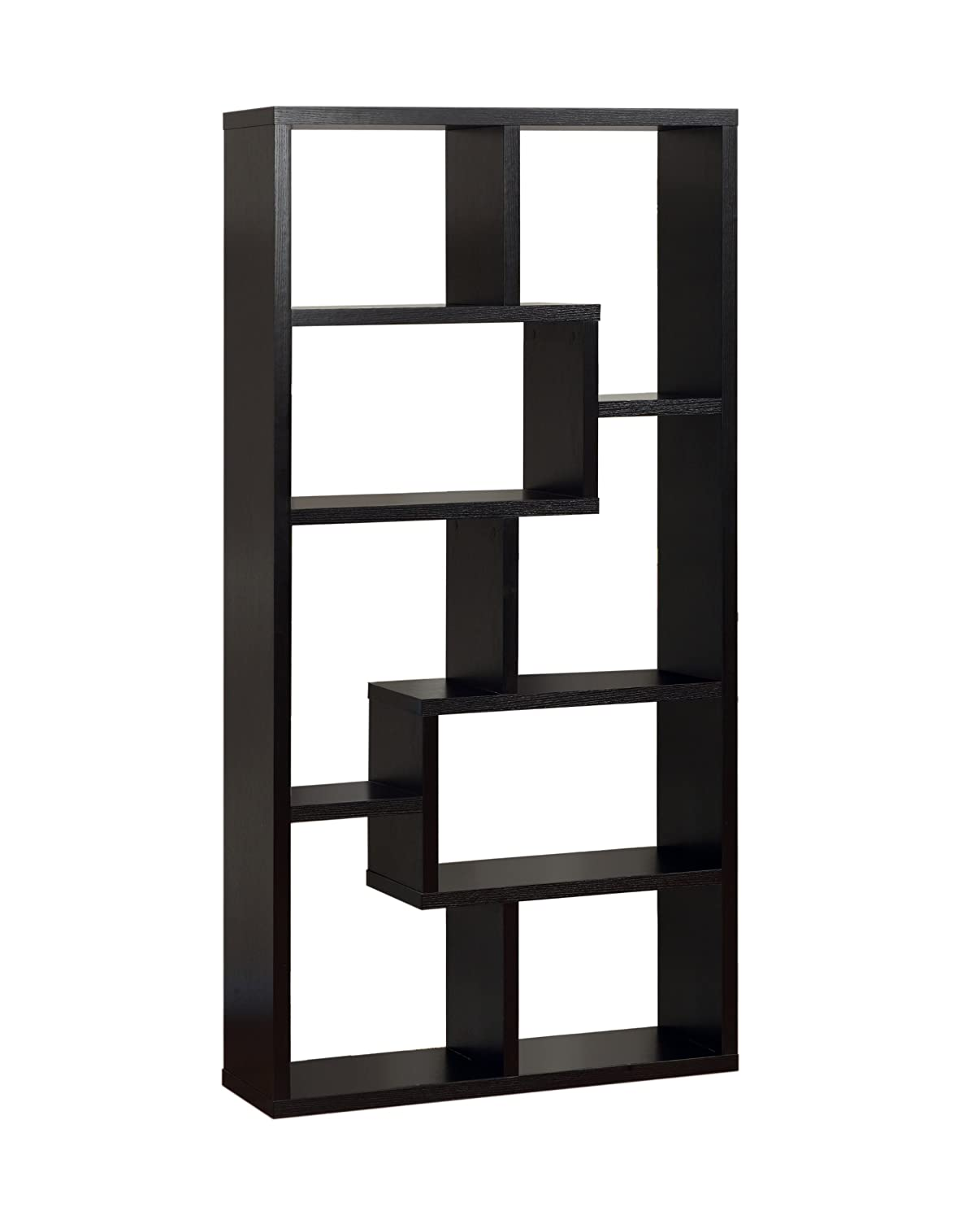 bookshelf coaster cappuccino l backless in htm shelves open with