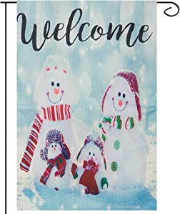 Apipi 12 x 18 Inch Decorative Welcome Winter Garden Flag- Smile Snowman Family with Hat Scarf House Flag Double Sided Rustic Burlap Outdoor Yard Flag for Xmas Home Garden Winter Party Seasonal Decor