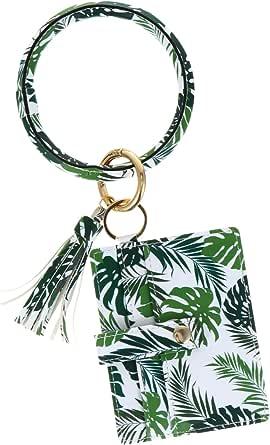 KESYOO Wristlet Bracelet Wallet Keychain Pocket Card Holder Tassel Flower Printing Keyring Holder for Women Green