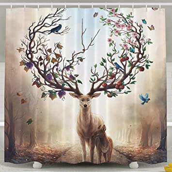 Water Repellent Shower Curtain Abstract Elk Deer Canvas Art Bathroom 100 Polyester