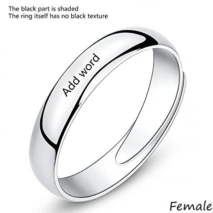 606137b53c Amazon.com: Leecum Customized Products-Add Your Design on Matching Couple  Rings Adjustable Customize Engraving for Him and Her Sets Men Women 925  Sterling ...