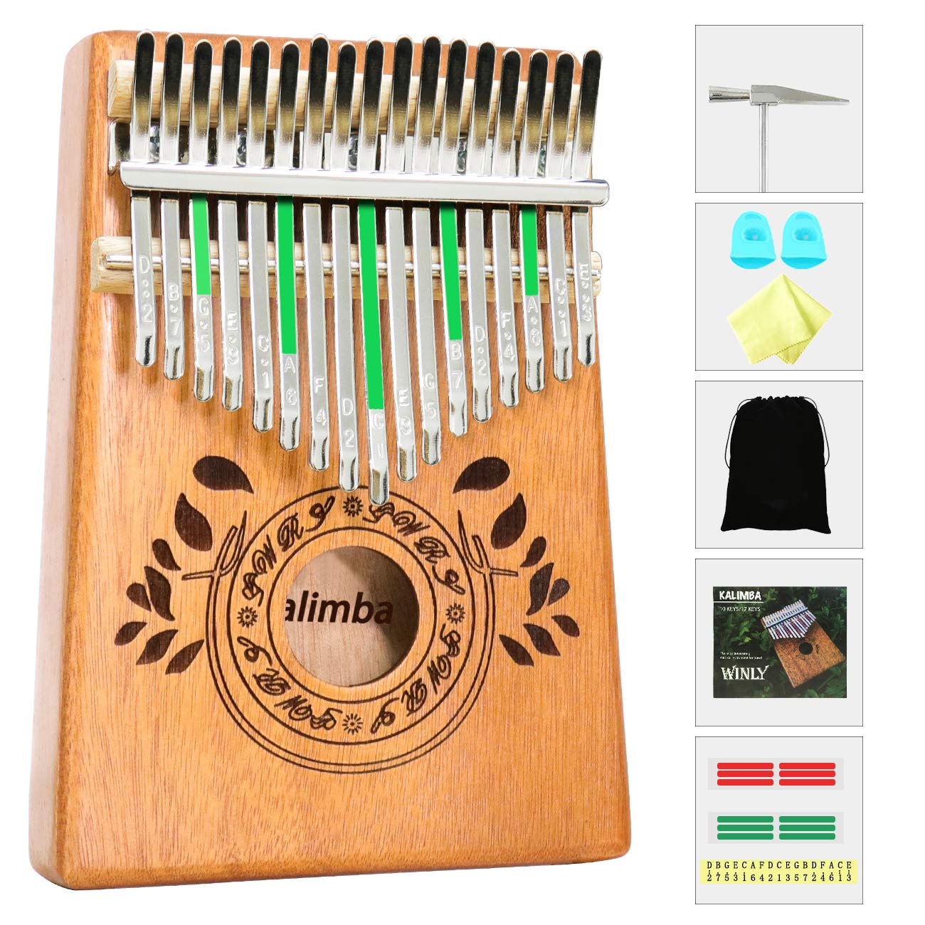 UNOKKI Kalimba 17 Keys Thumb Piano with Study Instruction and Tune Hammer, Portable Mbira Sanza African Wood Finger Piano, Gift for Kids Adult Beginners (Sunset Yellow)