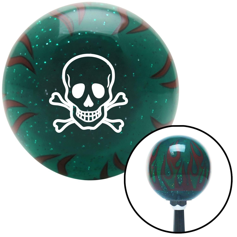 White Skull n Cross Bones American Shifter 263881 Green Flame Metal Flake Shift Knob with M16 x 1.5 Insert