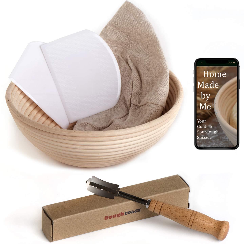 9 inch Banneton Bread Proofing Basket Baking Set Artisan Bread Sourdough Starter Kit Gift for Bakers