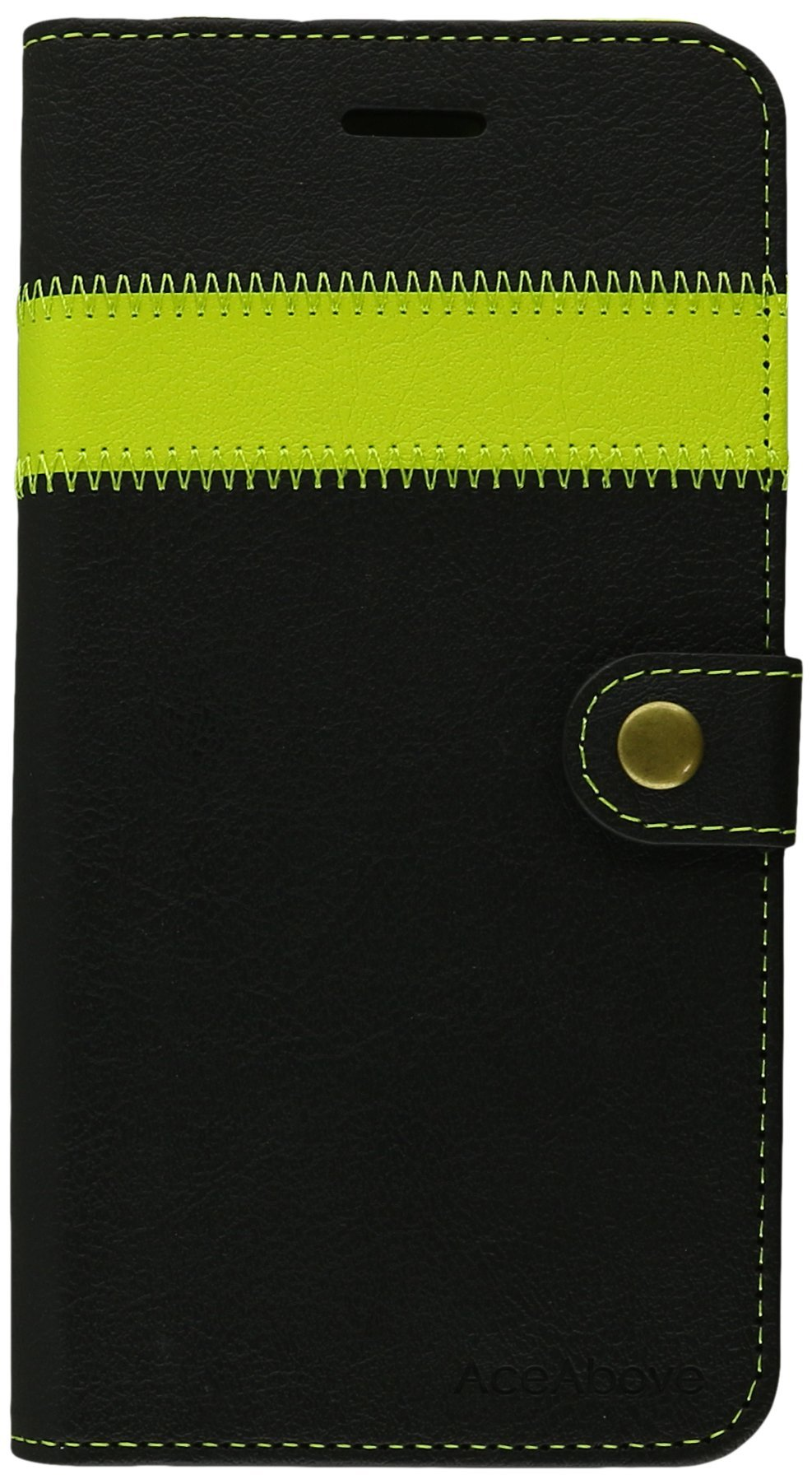 iPhone 6S Plus Case, AceAbove iPhone 6S wallet case [Black/Lime] - Premium PU Leather Wallet Cover with [Card Slots] and [KickStand] Function for Apple iPhone 6S Plus/iPhone 6 Plus