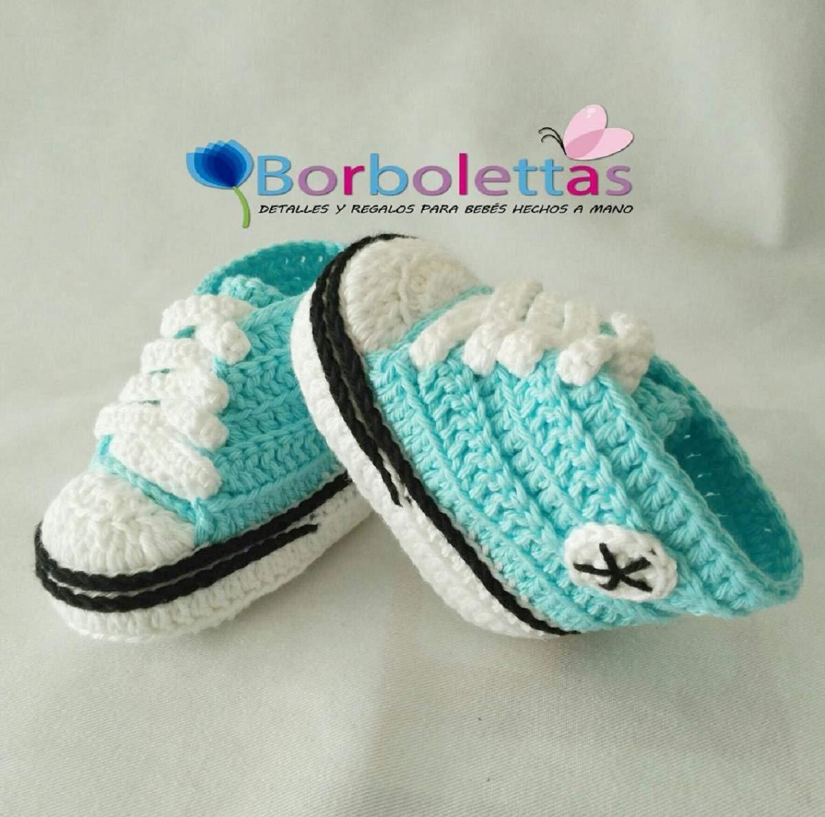 Patucos para Bebé Recién Nacido tipo Converse, 0-3 meses Agua Azul ...
