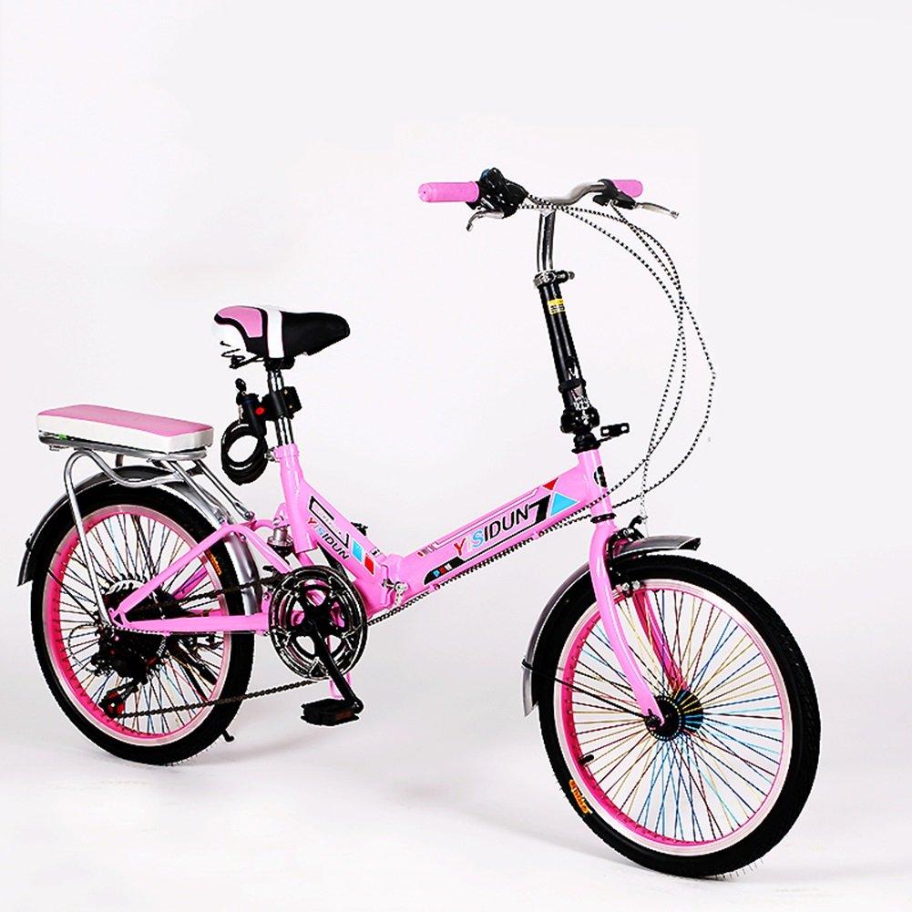 XQ XQ165URE 20 Pulgadas Bicicleta Plegable 6 Velocidad Bicicleta Hombres y Mujeres Bicicleta Bicicleta de los Niños Adultos (Color : Pink) : Amazon.es: ...