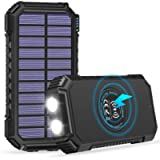 Solar Charger 26800mAh, ADDTOP High Capacity Wireless Portable Charger USB C Power Bank with 4 Outputs, Solar Phone…