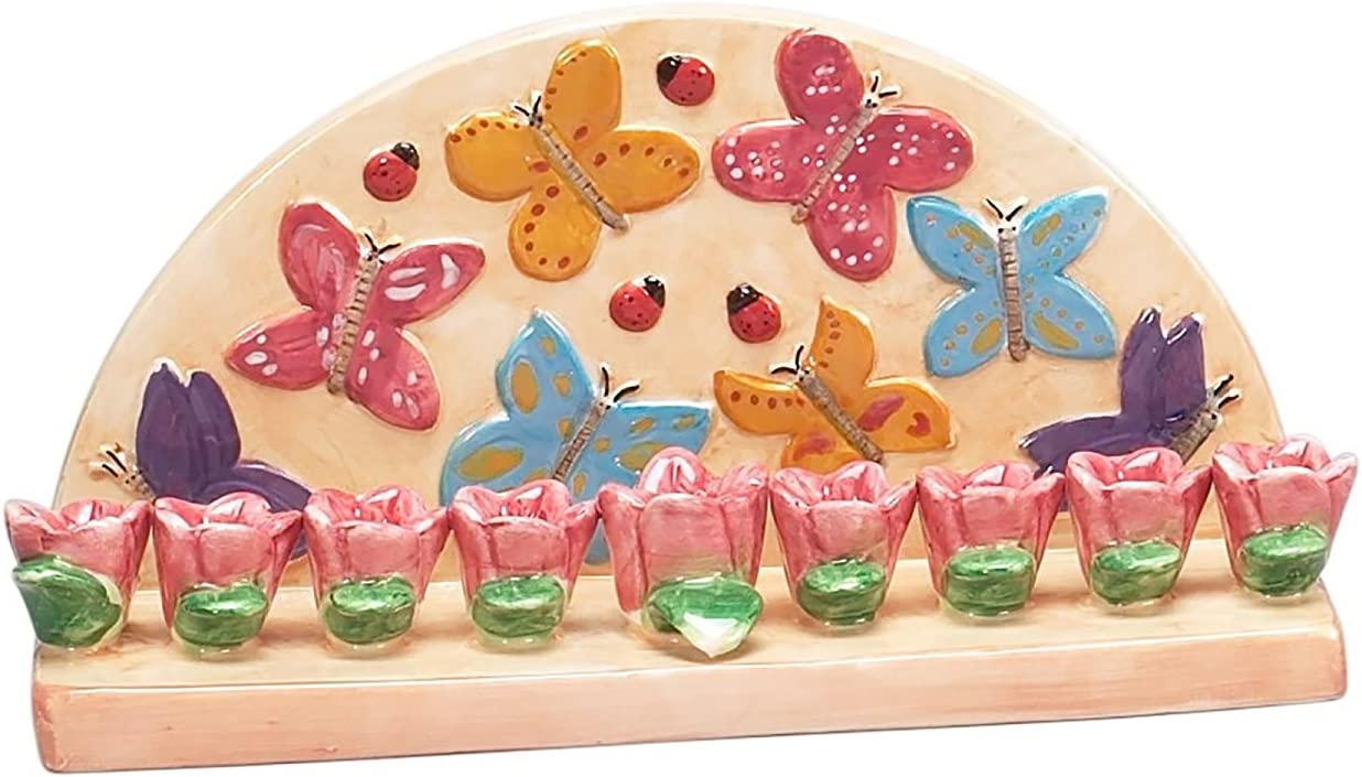 Hanukkah Menorah for Candles Butterfly for Chanukah Party Ceramic