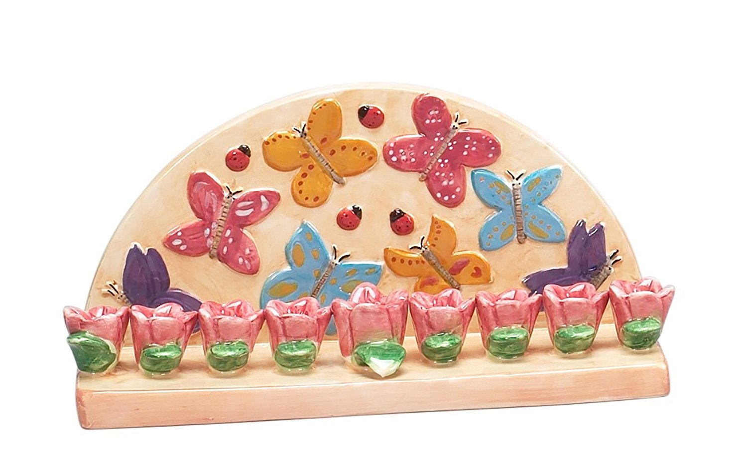 Hanukkah Menorah for Candles Butterfly for Chanukah Party Ceramic ISRAEL GIFT
